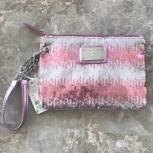NY&C Pink and Silver Ombré Sequin Wristlet